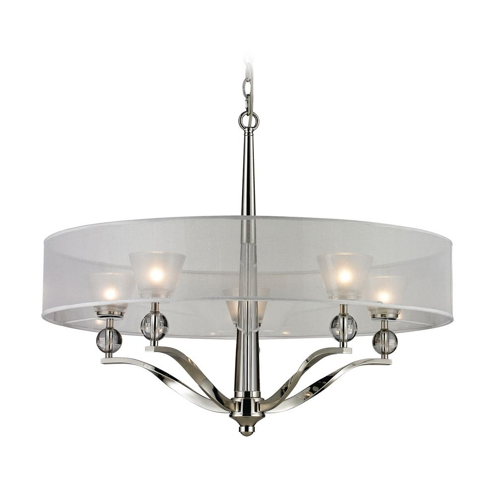 Modern Chandelier With Silver Shade In Polished Nickel