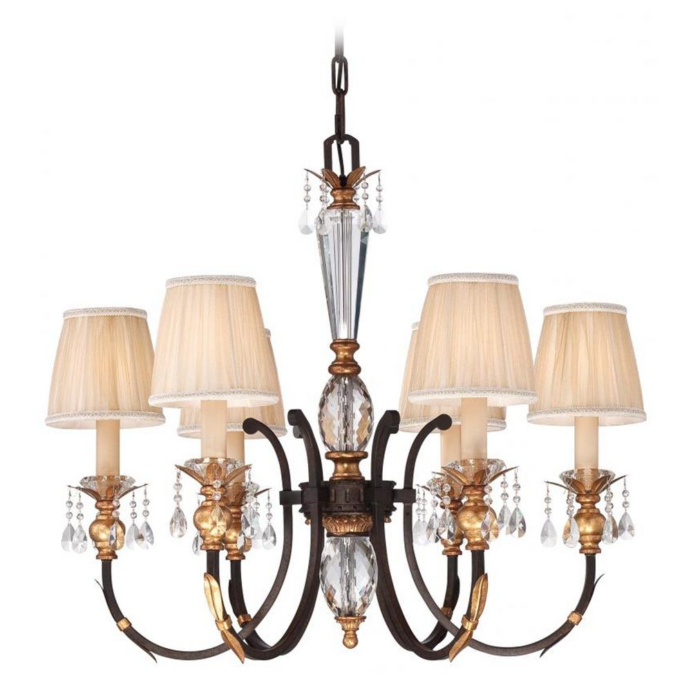 Crystal chandelier in bronze finish with pleated shades n6646 258b hover or click to zoom arubaitofo Gallery