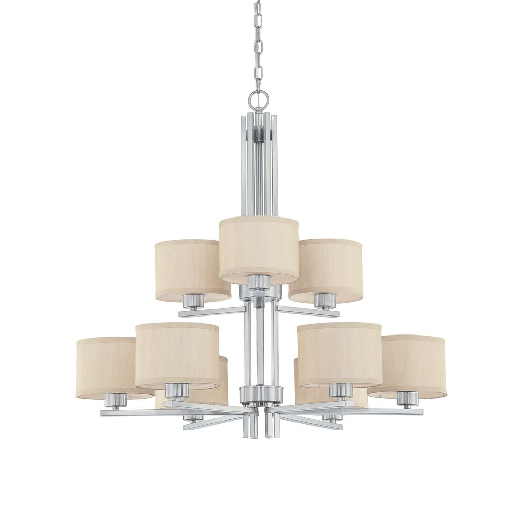 Brushed Nickel Chandelier With Fabric Shades Musethecollective