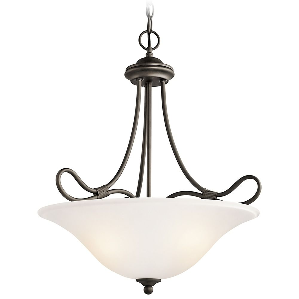Kichner Lighting: Kichler Pendant Light With White Glass In Olde Bronze