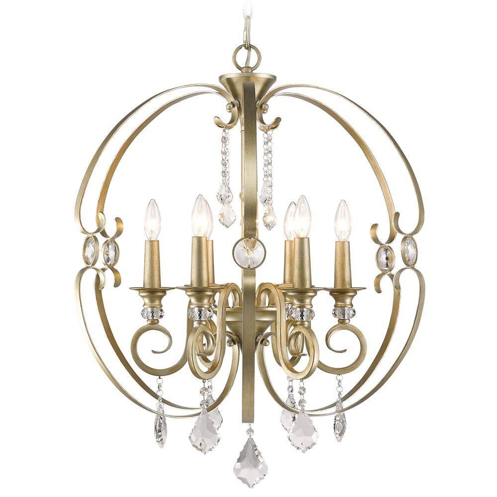 Golden Lighting Ella White Gold Chandelier 1323-6 WG Destination Lighting