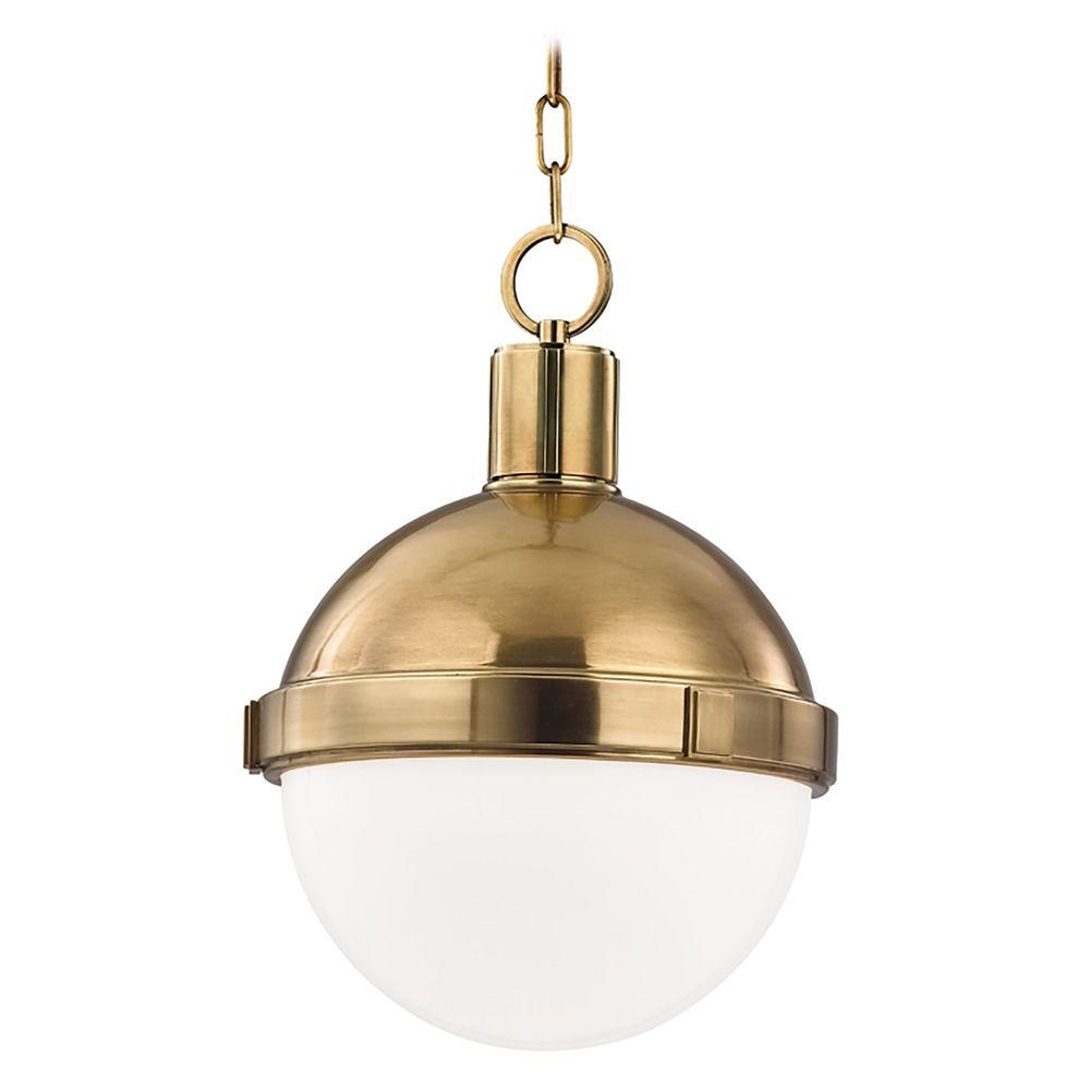 Hudson Valley Emergency Lighting: Mid-Century Modern Pendant Light Brass Lambert By Hudson