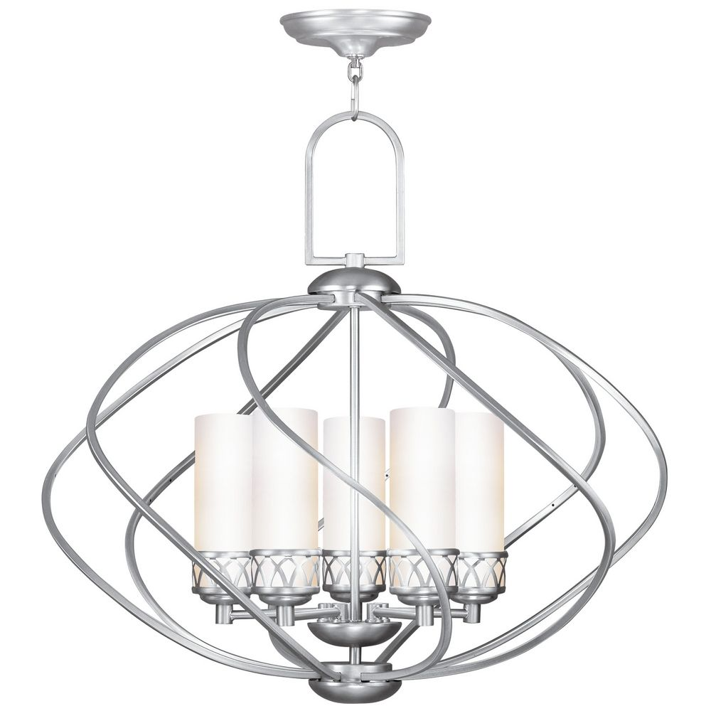 Livex Lighting Westfield Brushed Nickel Chandelier With Cylindrical Shade  Alt1