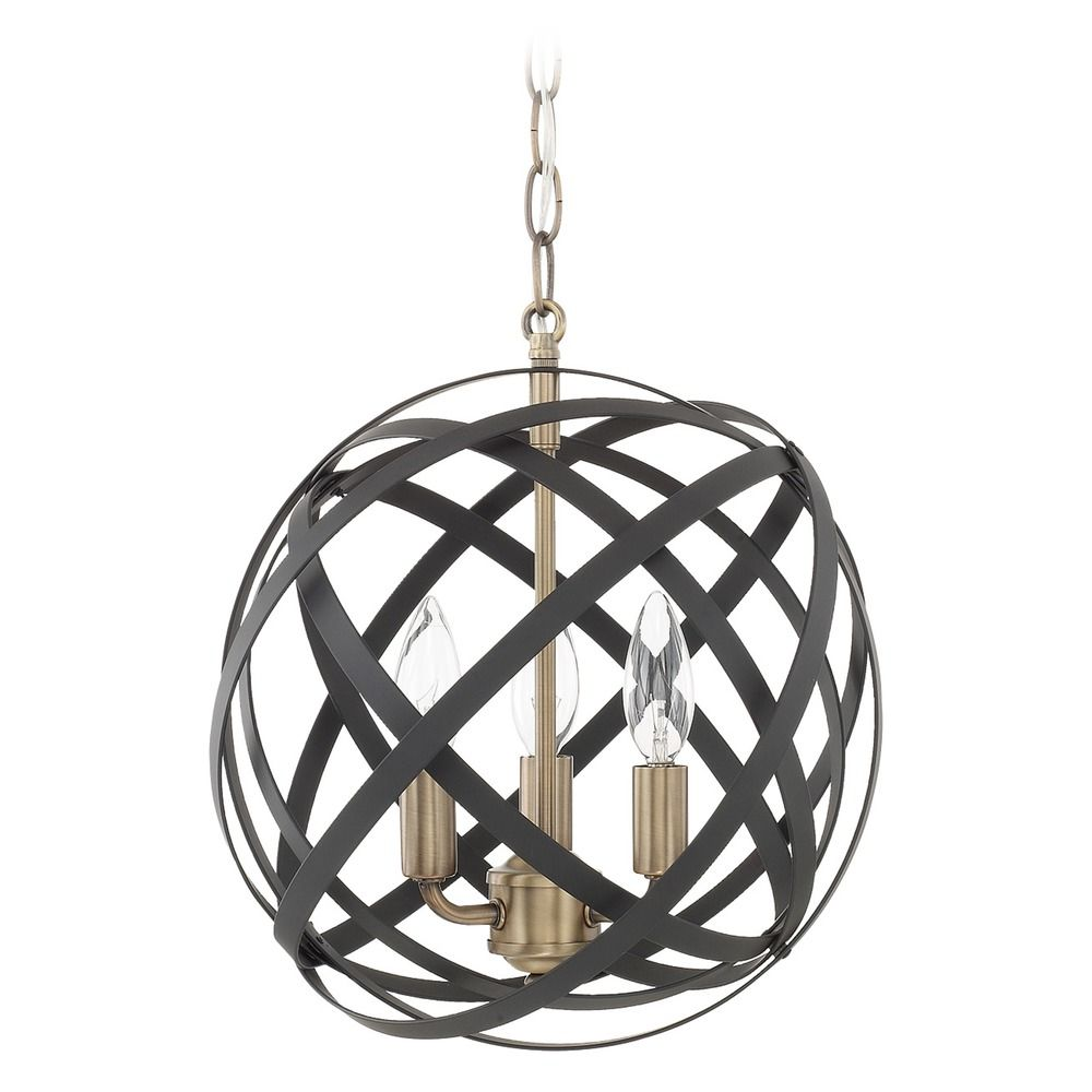 capital lighting axis aged brass and black pendant light with globe