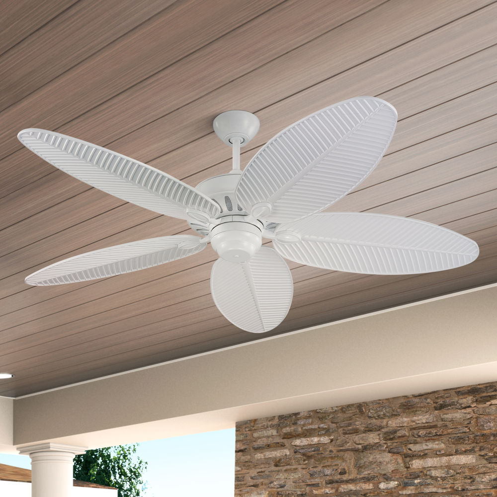 Outdoor Ceiling Fan Without Light In White Finish 5cu52wh Destination Lighting