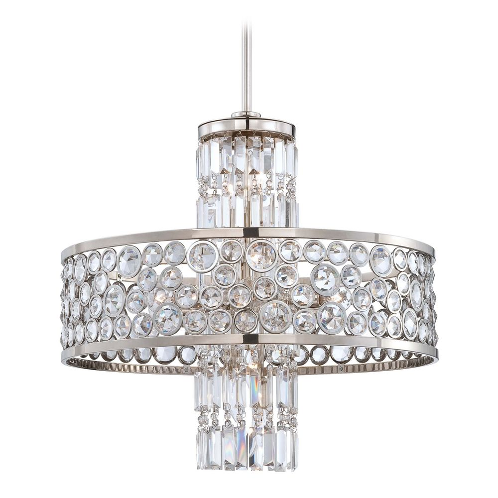 Crystal Chandelier Price: Crystal Chandelier In Polished Nickel Finish