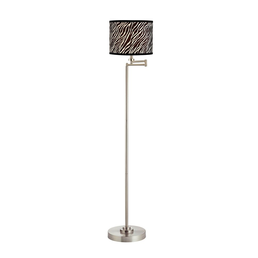 swing arm floor lamp with zebra drum lamp shade With swing arm floor lamp with drum shade