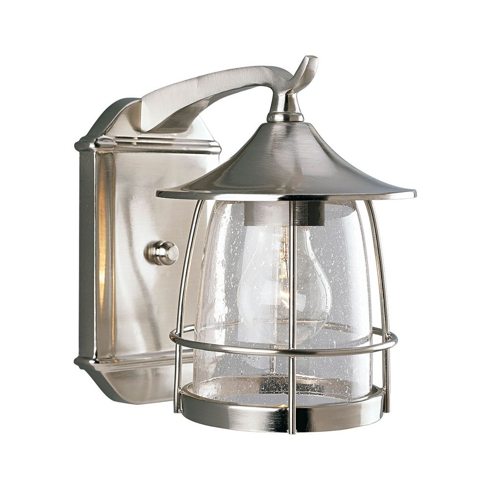 outdoor wall light with clear glass in brushed nickel finish p5763 09. Black Bedroom Furniture Sets. Home Design Ideas