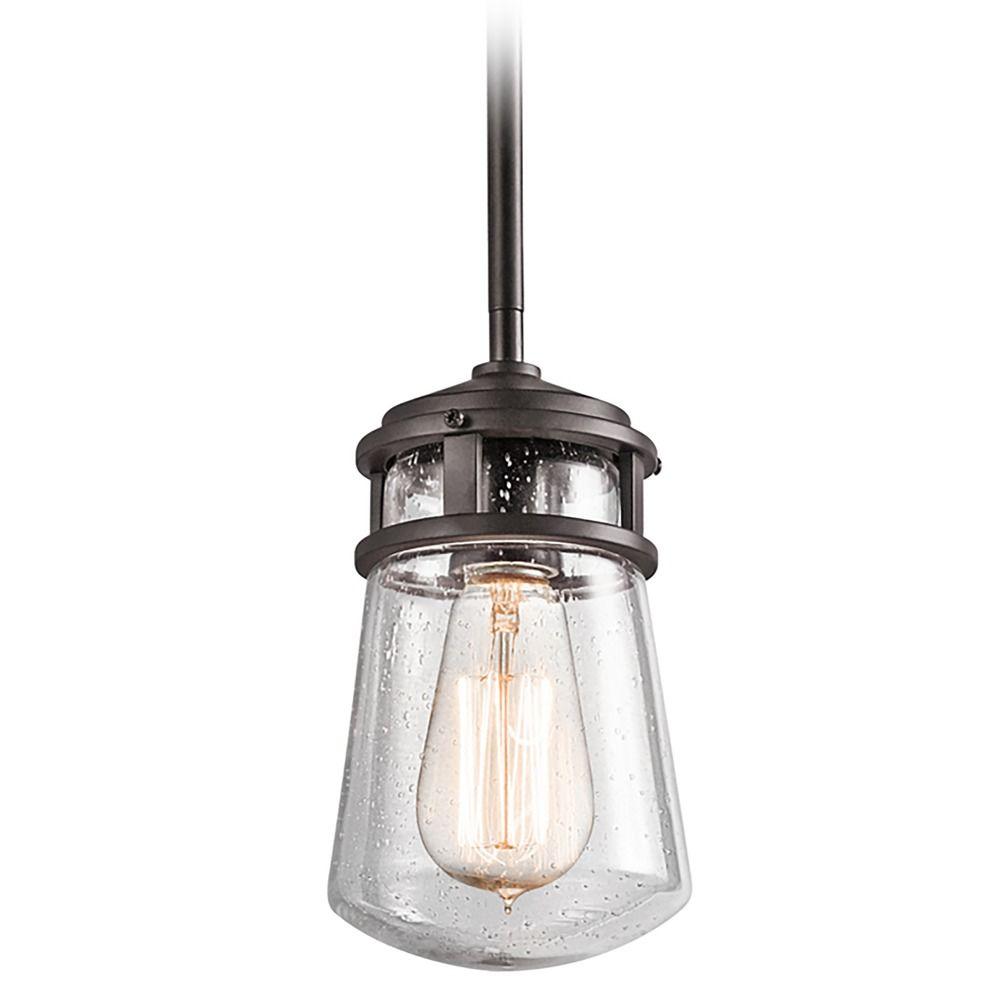 Kichler Lights Outdoor: Seeded Glass Outdoor Hanging Light Bronze Kichler Lighting