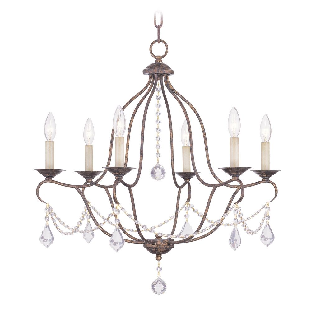 Venetian Bronze Chandelier: Livex Lighting Chesterfield Venetian Golden Bronze Crystal
