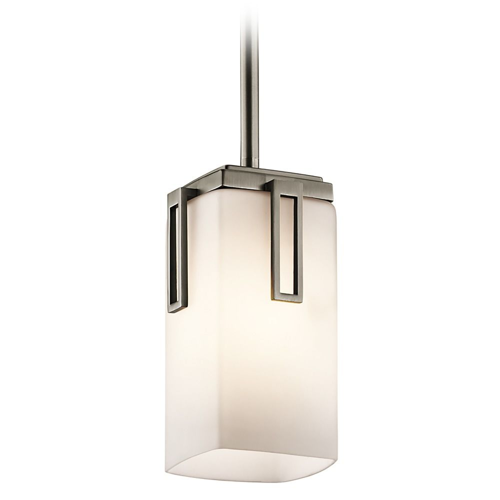 kichler modern mini pendant light with white glass
