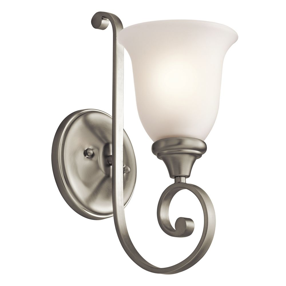 kichler sconce wall light with white glass in brushed. Black Bedroom Furniture Sets. Home Design Ideas
