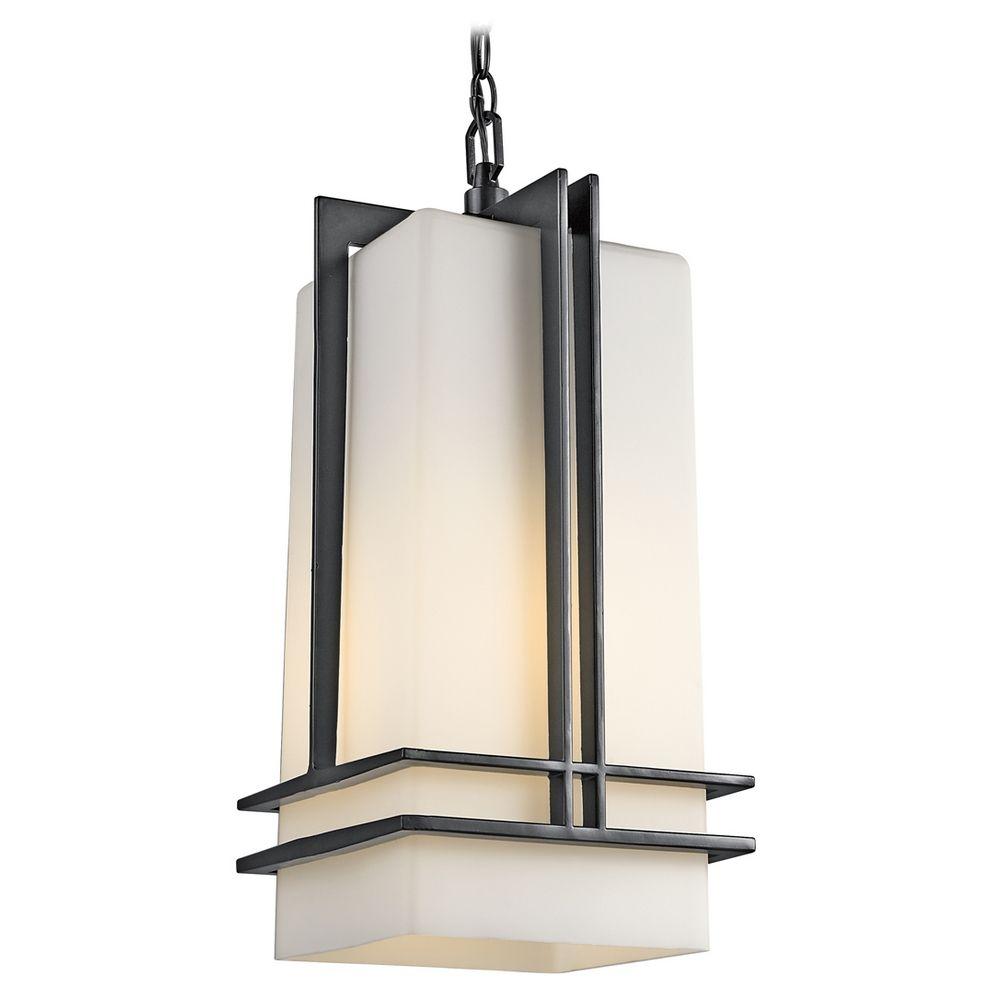 Kichler Modern Outdoor Hanging Light With White Glass In Black Finish 49205bk
