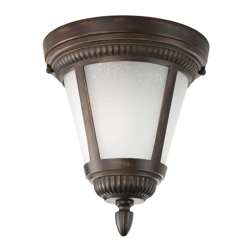 Close To Ceiling Light With White Glass In Antique Bronze Finish P3883 20WB