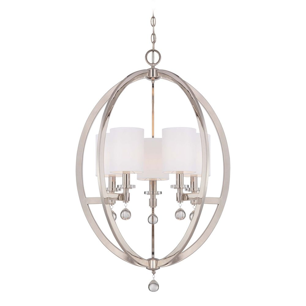 Crystal Orb Chandelier Pendant Light With White Drum