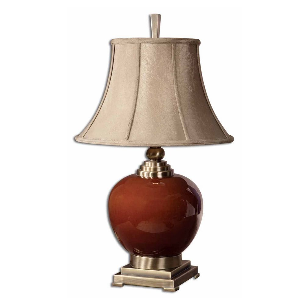 Table Lamp With Beige Cream Shade In Cinnamon Red Finish