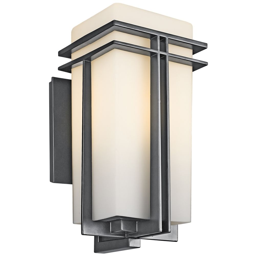 Kichler Modern Outdoor Wall Light With White Glass In Black Finish At Destination Lighting