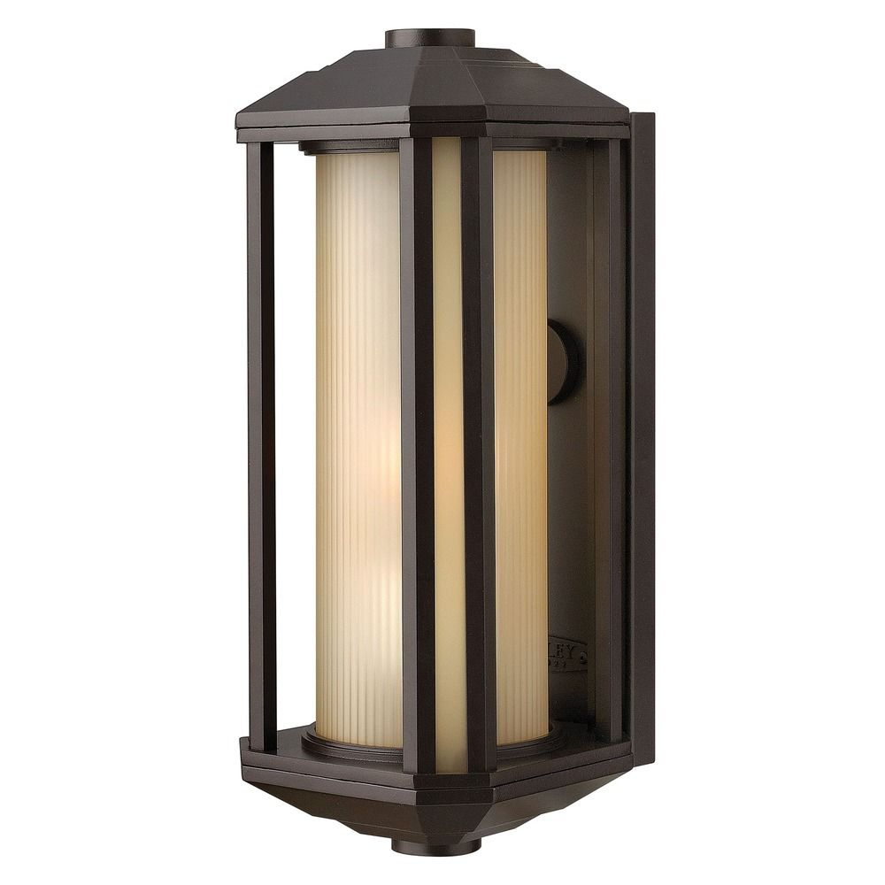 Amber Glass Wall Lights : Outdoor Wall Light with Amber Glass in Bronze Finish 1390BZ Destination Lighting
