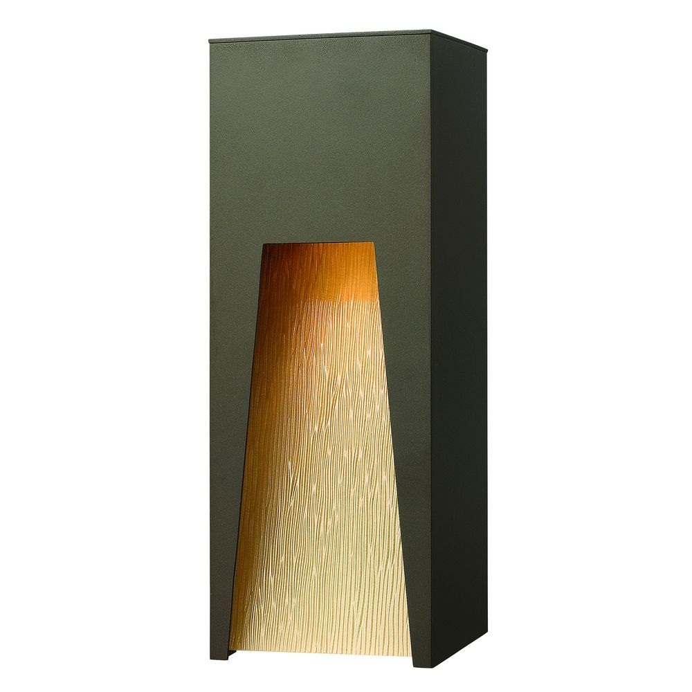 Amber Glass Wall Lights : Modern Outdoor Wall Light with Amber Glass in Bronze Finish 1764BZ Destination Lighting
