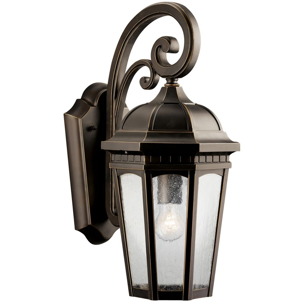 Bronze Finish Wall Lights : Kichler Outdoor Wall Light with Clear Glass in Rubbed Bronze Finish 9033RZ Destination Lighting