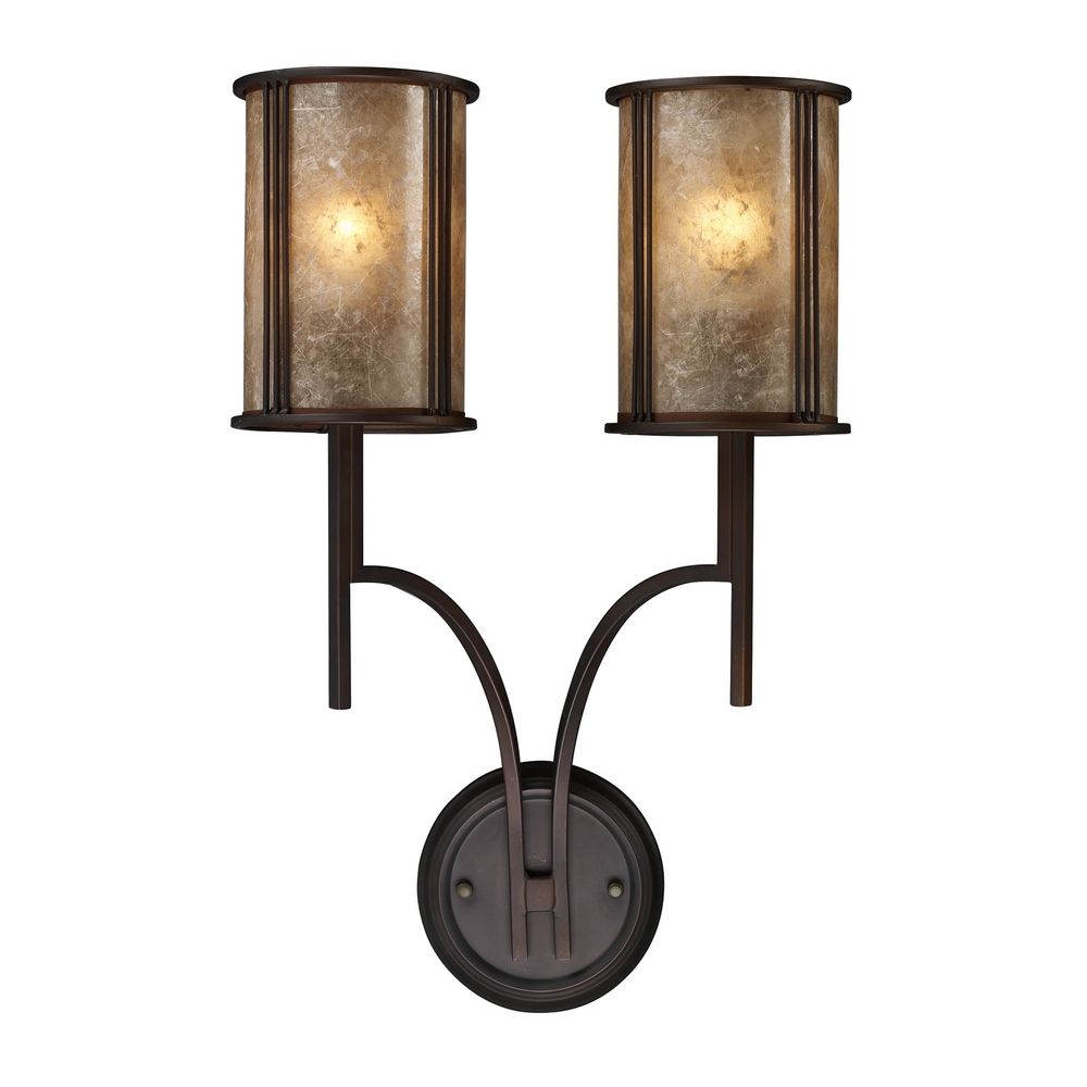 Aged Bronze Wall Sconces : Sconce Wall Light with Brown Mica Shades in Aged Bronze Finish 15030/2 Destination Lighting