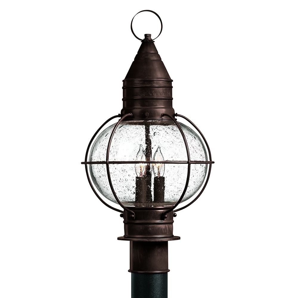 Outdoor Post Light Replacement Glass: Seeded Glass Outdoor Post Light Bronze Hinkley Lighting
