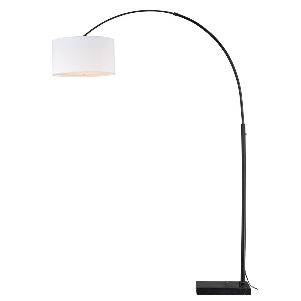 Luna Oil Rubbed Bronze Led Arc Lamp With Drum Shade By