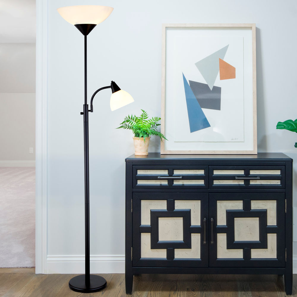 Adesso Piedmont Torchiere Floor Lamp With Reading Lamp In Black Finish 7202 01 Destination