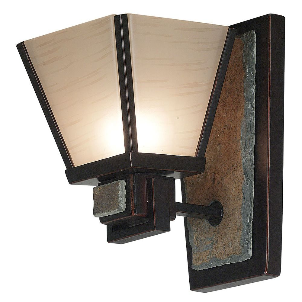 Art Glass Wall Lights: Sconce Wall Light With Art Glass In Oil Rubbed Bronze