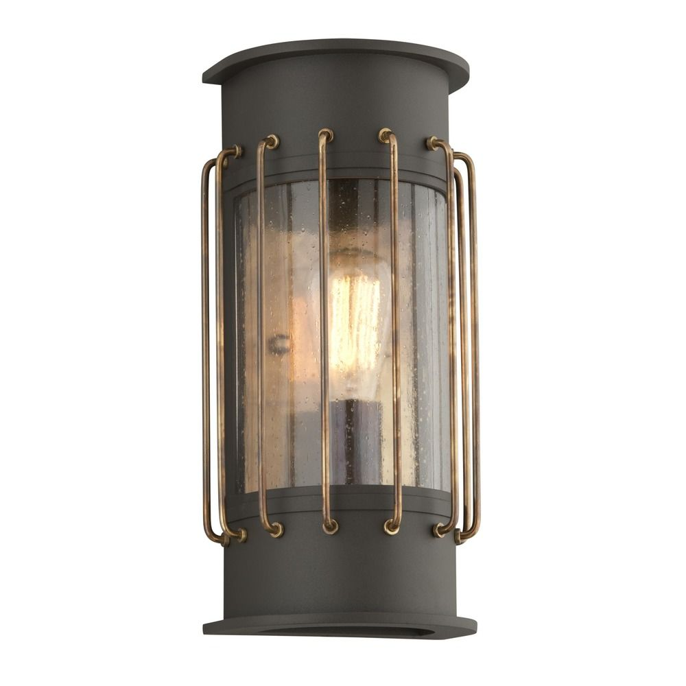 Troy lighting cabot bronze with historic brass accents led outdoor wall light bl4662 - Exterior accent lighting for home ...