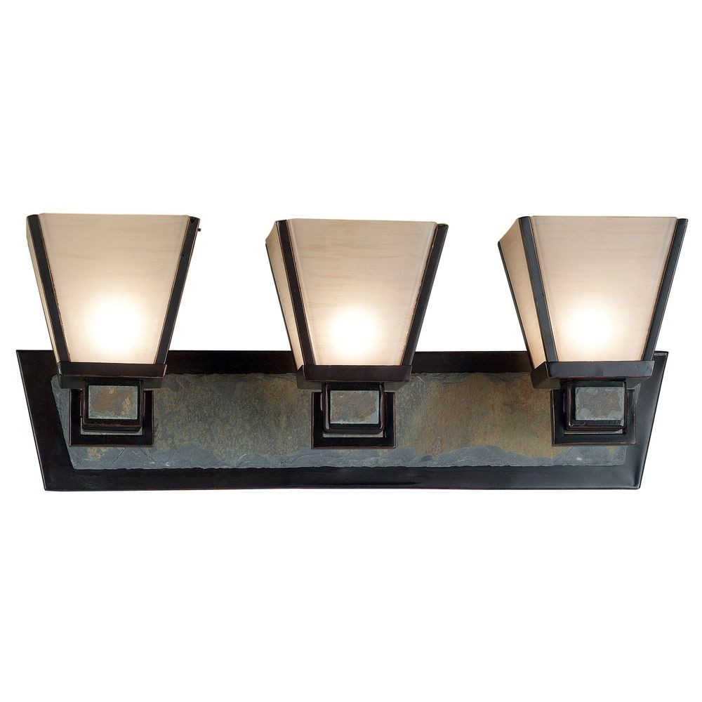 Bathroom Light with Art Glass in Oil Rubbed Bronze Finish 91603ORB Destination Lighting