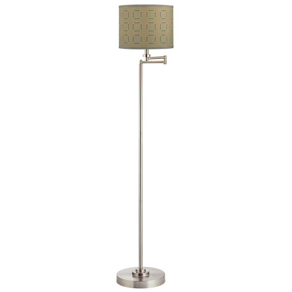 swing arm floor lamp with tan and turquoise drum lamp shade 1901 09. Black Bedroom Furniture Sets. Home Design Ideas