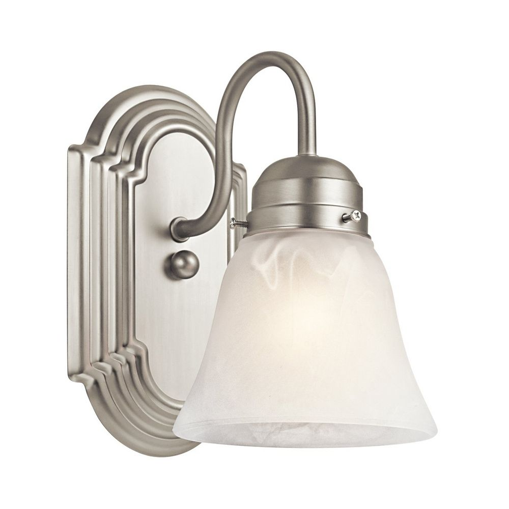 White Wall Sconce Light: Kichler Sconce Wall Light With White Glass In Brushed