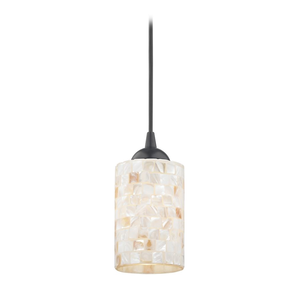 Mosaic mini pendant light with cylinder glass in black for Small kitchen pendant lights