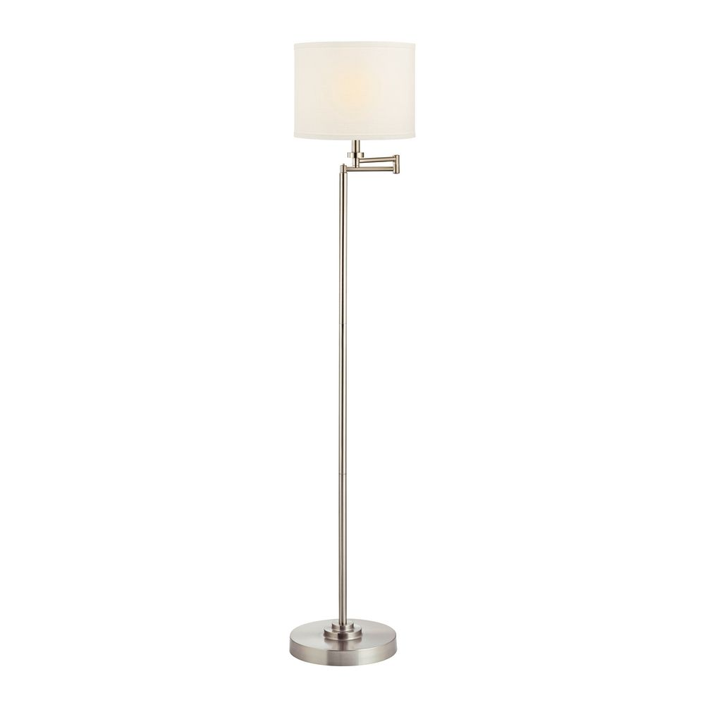 details about swing arm floor lamp with white linen drum lamp shade. Black Bedroom Furniture Sets. Home Design Ideas