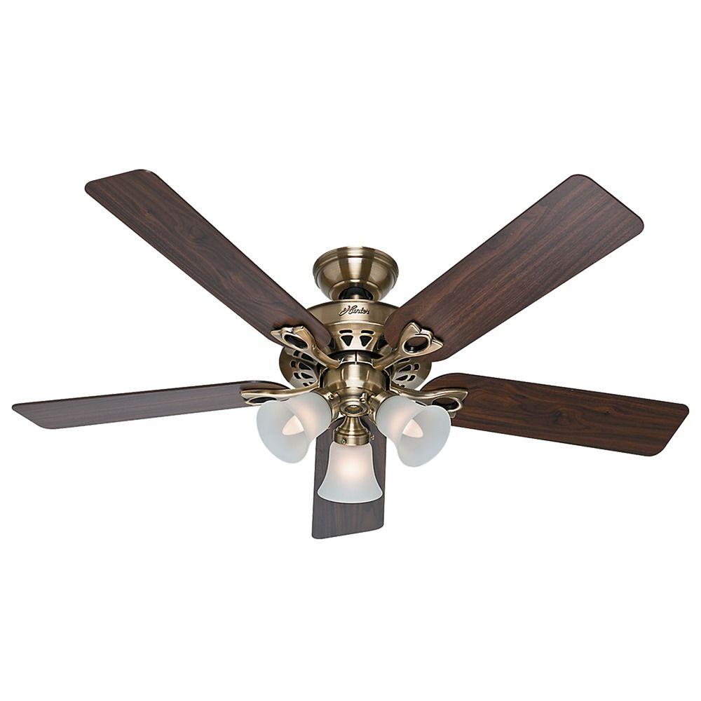 Hunter fan company the sontera antique brass ceiling fan with light 53115 destination lighting - Vintage ceiling fan with light ...