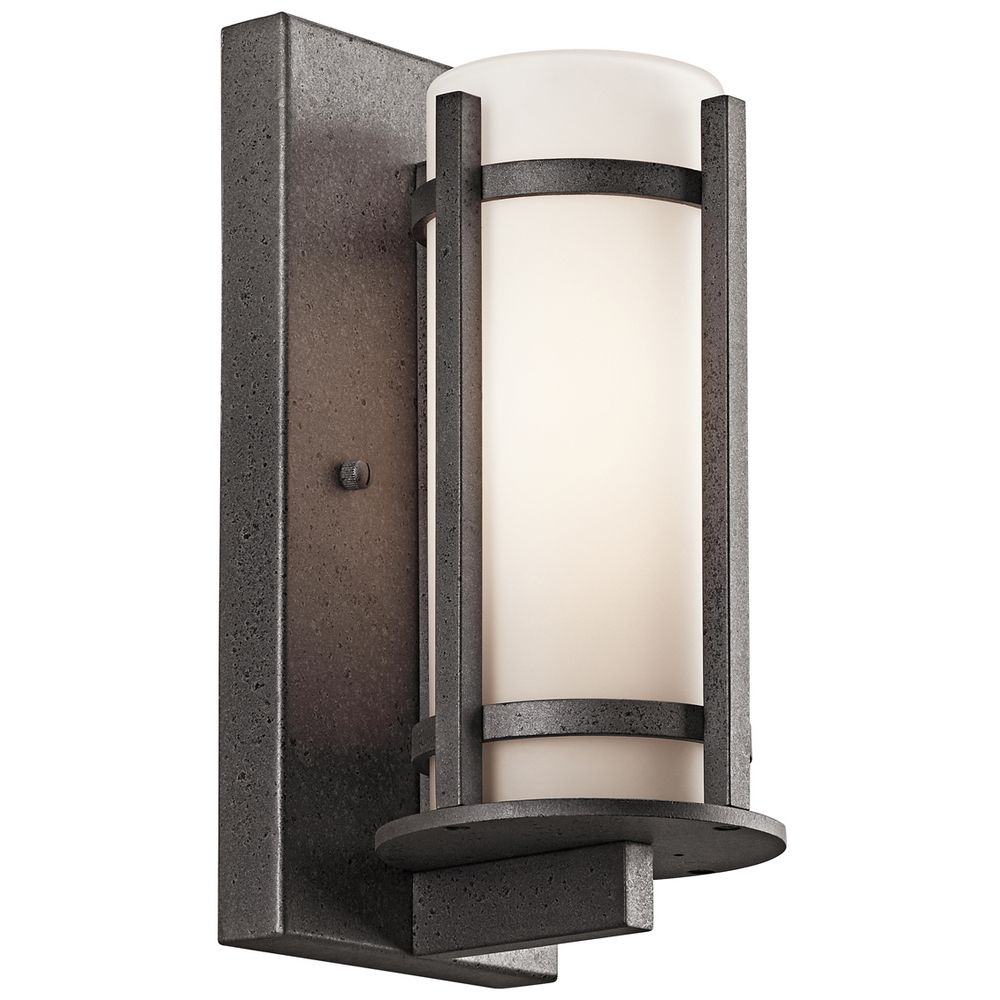 Kichler Outdoor Wall Light With White Glass In Anvil Iron Finish 49119avi Destination Lighting