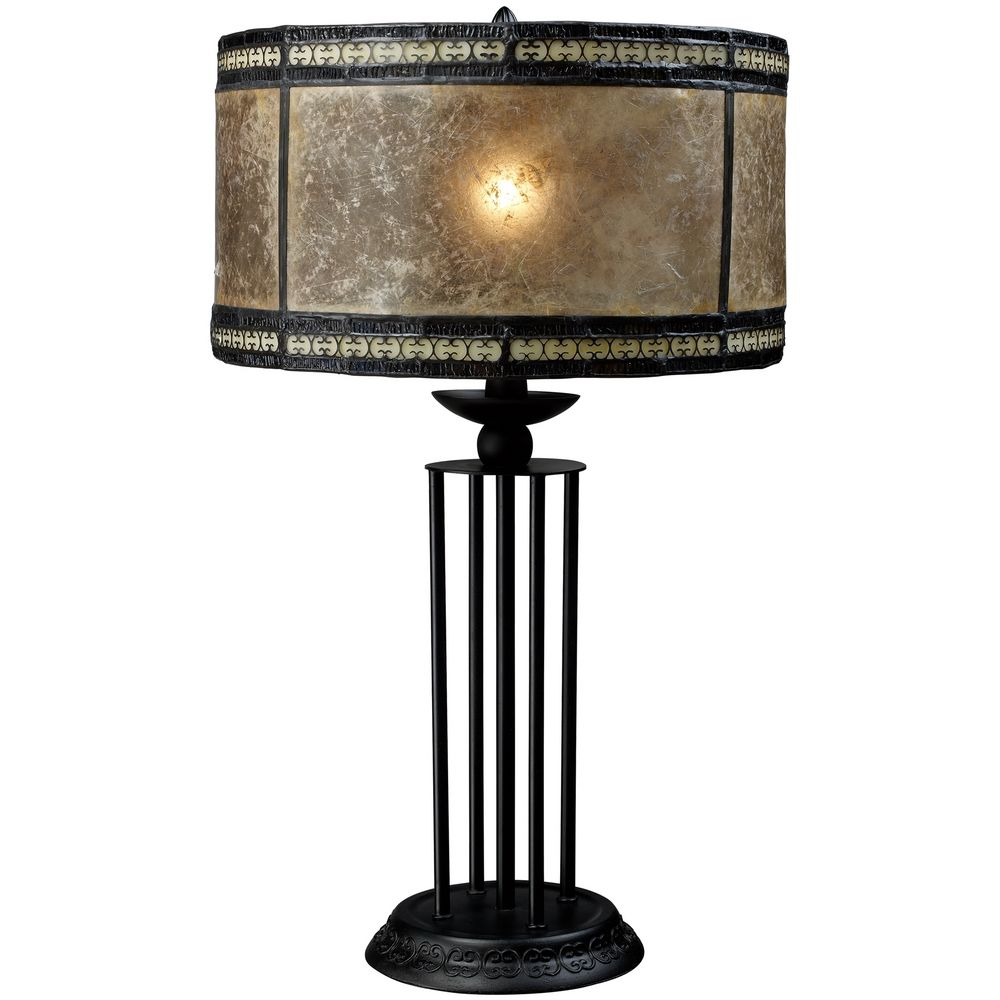 Bronze table lamp with brown mica drum shade d1849 for Brown table lamp shades