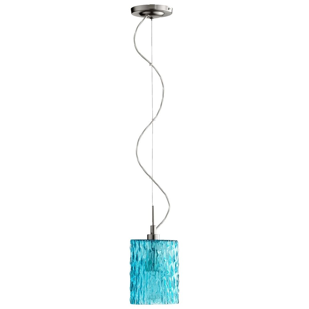 quorum lighting satin nickel w aqua minipendant light with cylindrical shade alt1