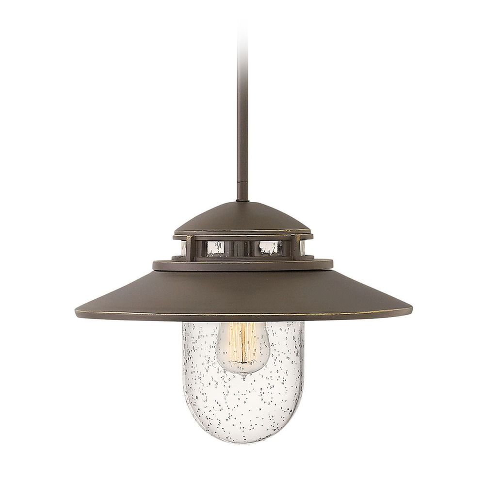 Outdoor Hanging Barn Lights: Barn Light Seeded Glass Outdoor Hanging Light Oil Rubbed