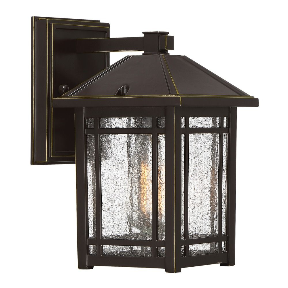 Exterior Lighting: Seeded Glass Outdoor Wall Light Bronze Quoizel Lighting