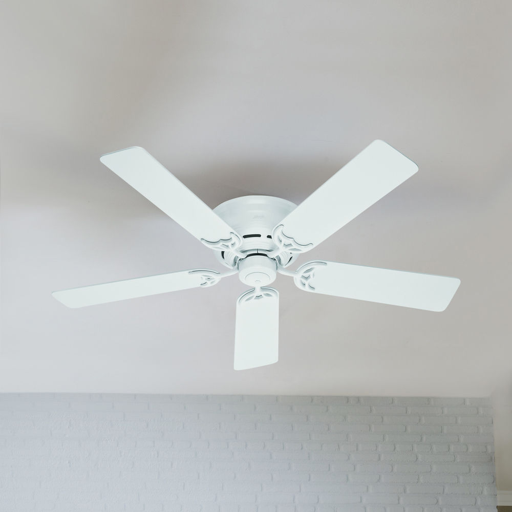 52 Inch Hunter Fan Low Profile Iii White Ceiling Fan Without Light 53069 Destination Lighting