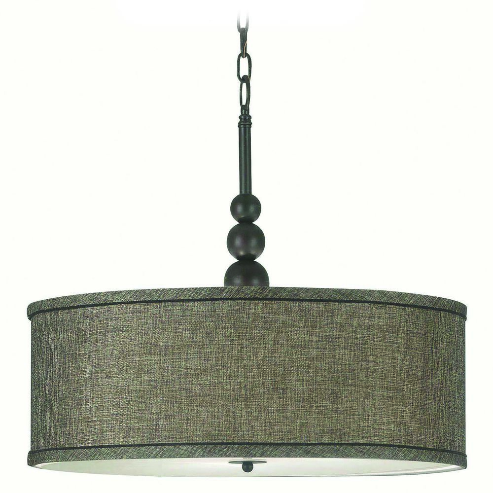 modern pendant light with drum shade in rubbed bronze 91640orb destination lighting
