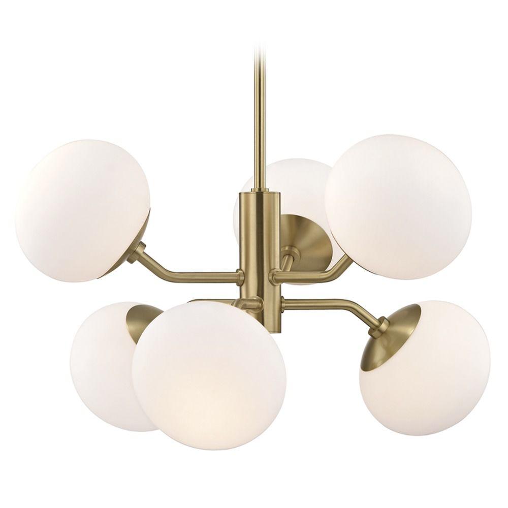 Mid century modern chandelier brass mitzi estee by hudson valley product image arubaitofo Images