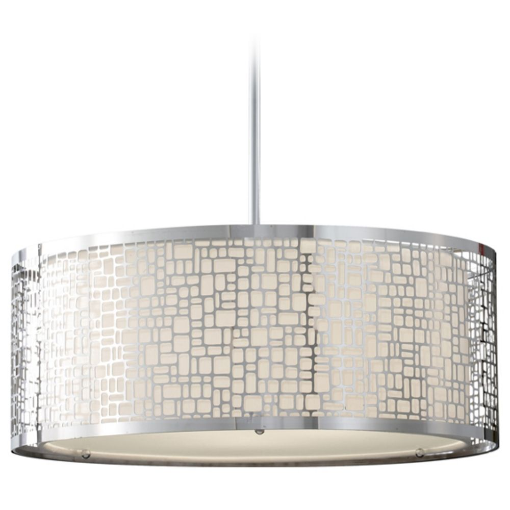 modern drum pendant light with white glass in chrome finish