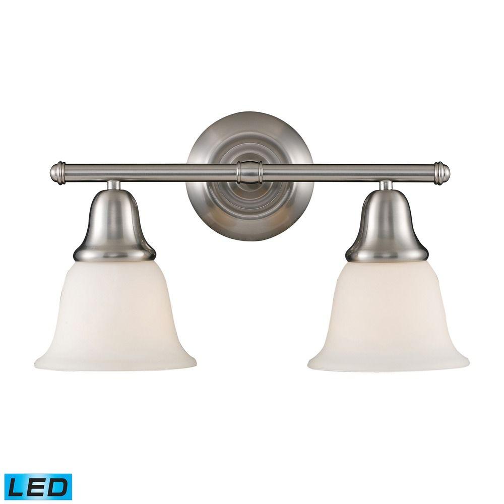 Elk lighting berwick brushed nickel led bathroom light for Brushed nickel bathroom lights