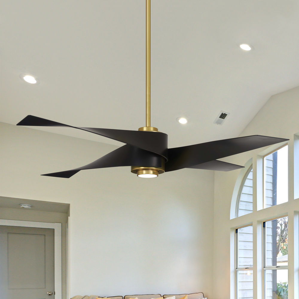 64 Inch Minka Aire Artemis Iv Soft Brass Led Ceiling Fan With Light F903l Sbr Mbk