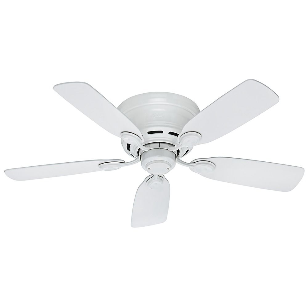 Hunter Fan Company 42 Inch Low Profile Iv White Ceiling Without Light Hover Or To Zoom