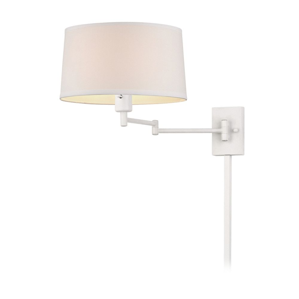 white swing arm wall lamp with drum shade and cord cover 2293 wh cc12 wh destination lighting. Black Bedroom Furniture Sets. Home Design Ideas