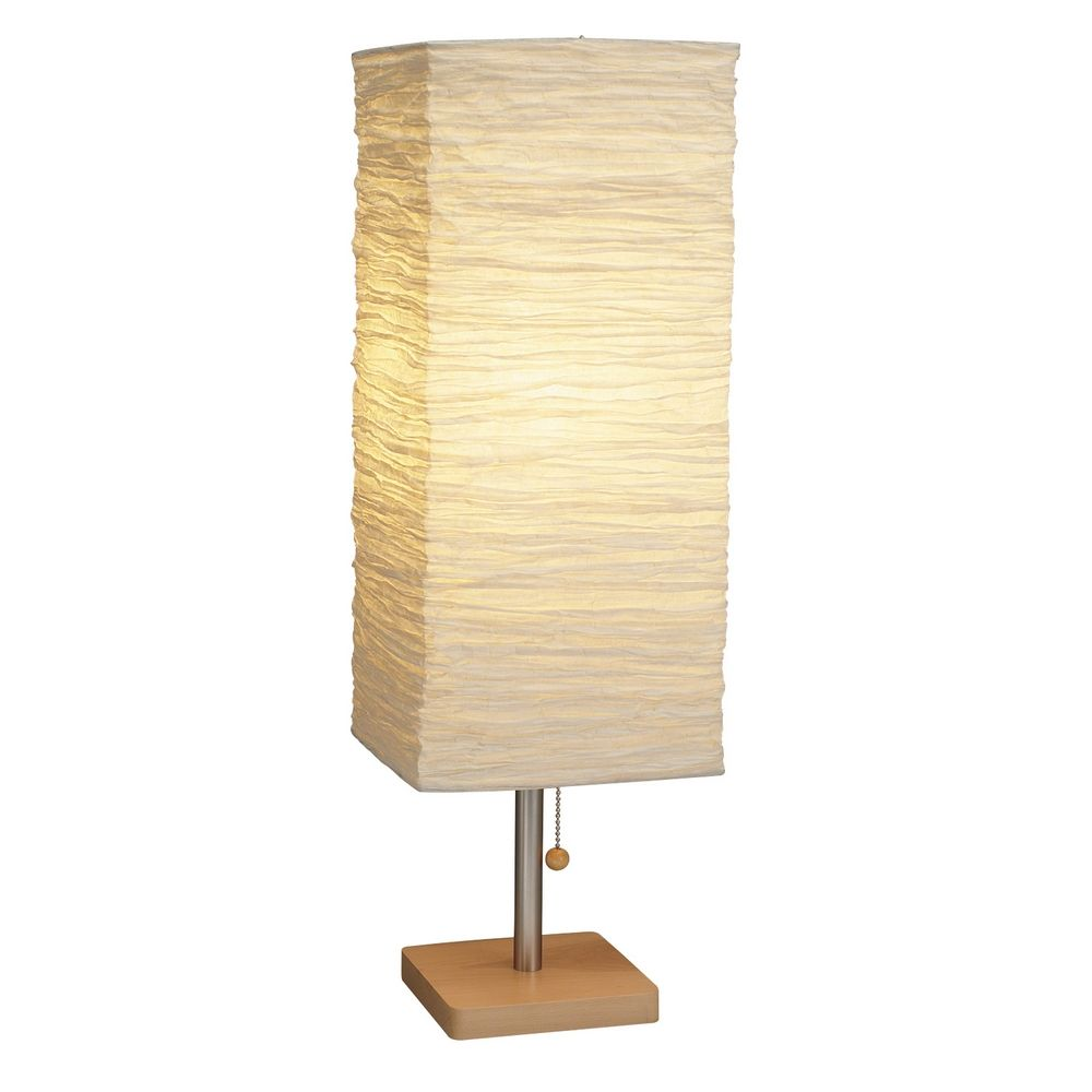 Adesso Home Lighting Modern Table Lamp With Beige Cream Paper Shade In Natural Finish 8021